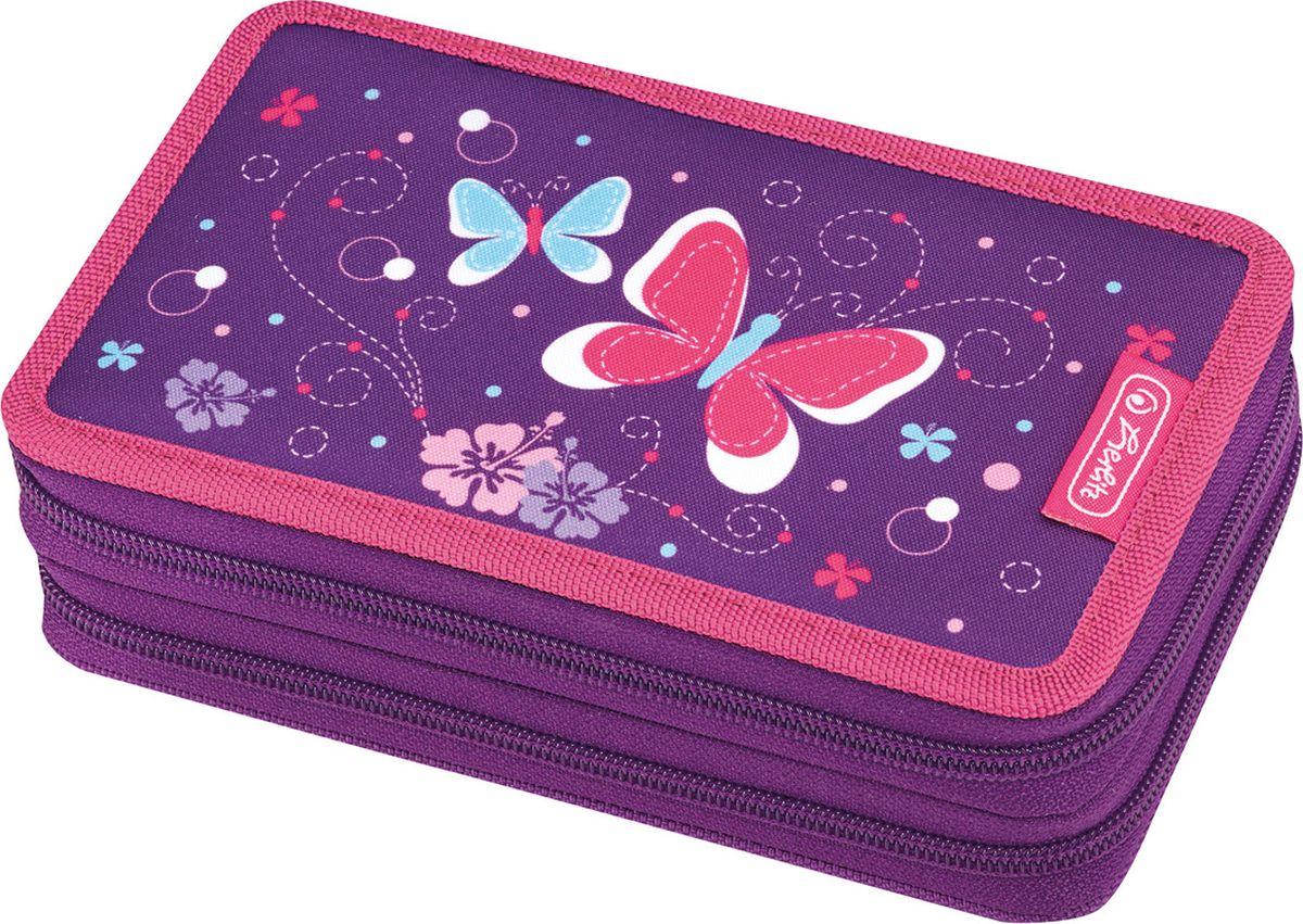 Herlitz Пенал с наполнением Purple Butterfly 23 предмета50014231Пенал Purple Butterfly 23 предмета Описание: - 19,3х11,5х4,5 - полиэстер - 2 отделение, 2 молнии - прочный кант, жесткая обложка Наполнение: - 2 чернографитный карандаша, - 1 шариковая ручка, - 8 цветных карандашей, - 8 фломастеров, - линейка и угольник-транспортир, - точилка и ластик