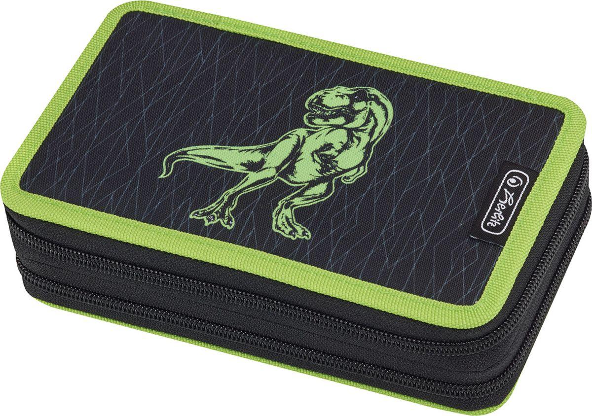 Herlitz Пенал с наполнением Green Dino 23 предмета