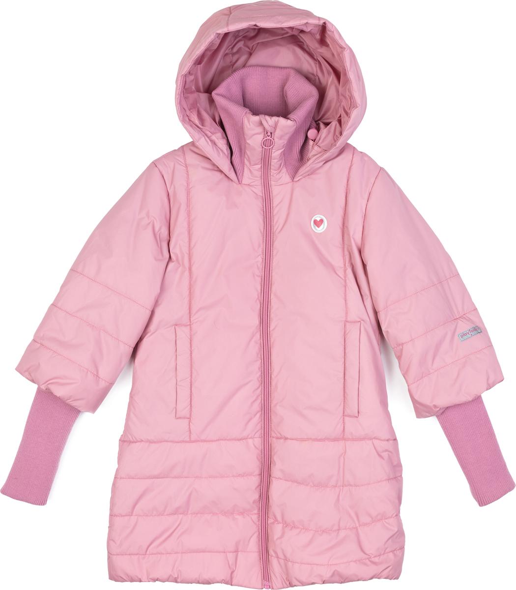 Пальто для девочки PlayToday, цвет: светло-розовый. 182054. Размер 134/140182054Утепленное пальто из водонепроницаемой ткани. Модель с высоким воротником - стойкой. Пальто на молнии. Специальный карман для бегунка не позволит застежке травмировать нежную детскую кожу. Рукава 3/4. Удлиненные манжеты из плотного трикотажа. Встрочной капюшон по контуру дополнен регулируемым шнуром - кулиской. Подкладка из полиэстера. Низ изделия на мягкой резинке для дополнительного сохранения тепла. Светоотражающие эелементы обеспечат видимость ребенка в темное время суток. Пальто дополнено встрочными карманами.