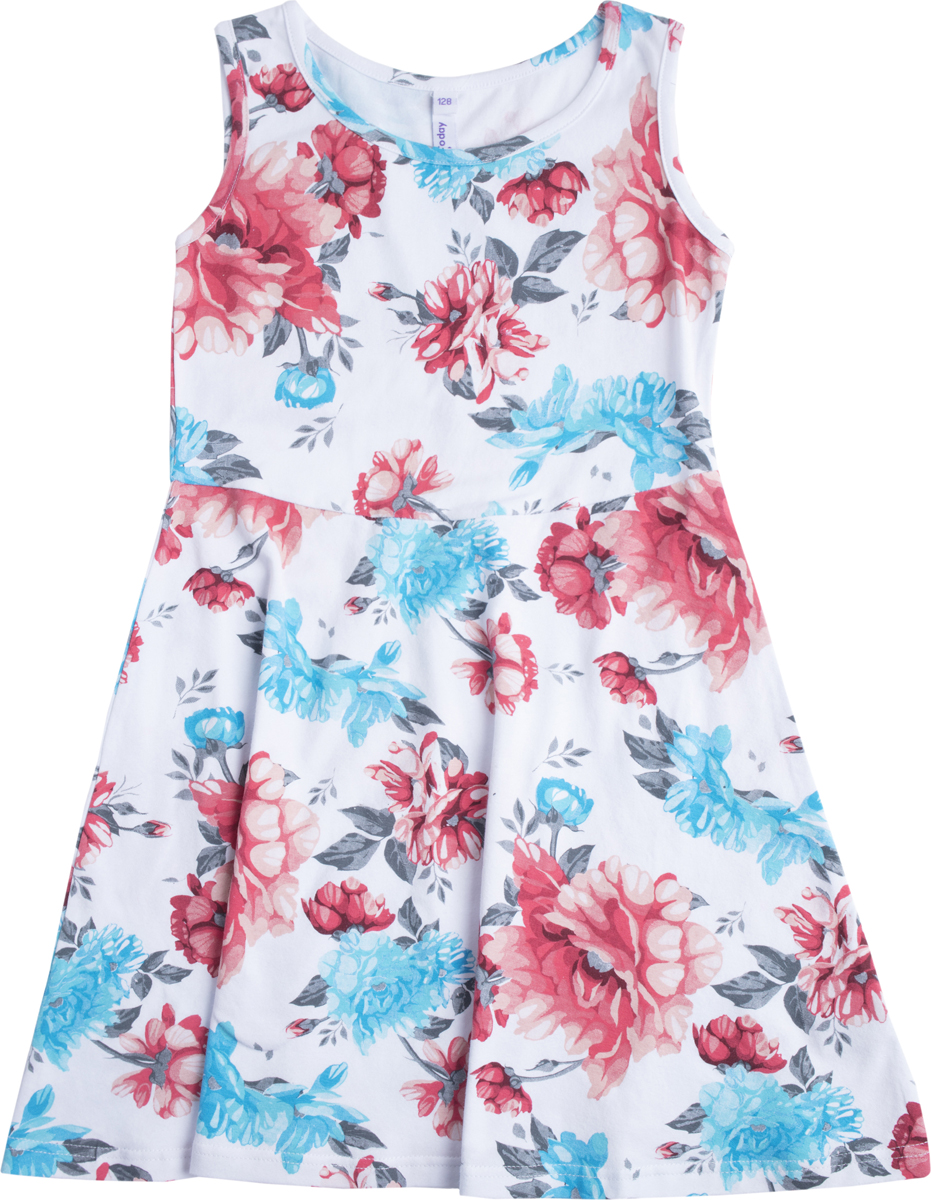 Платье для девочки PlayToday, цвет: белый, красный, голубой. 182130. Размер 128182130Платье отрезное по талии. Из натуральной набивной ткани, без рукавов. Модель с расклешенной юбкой.