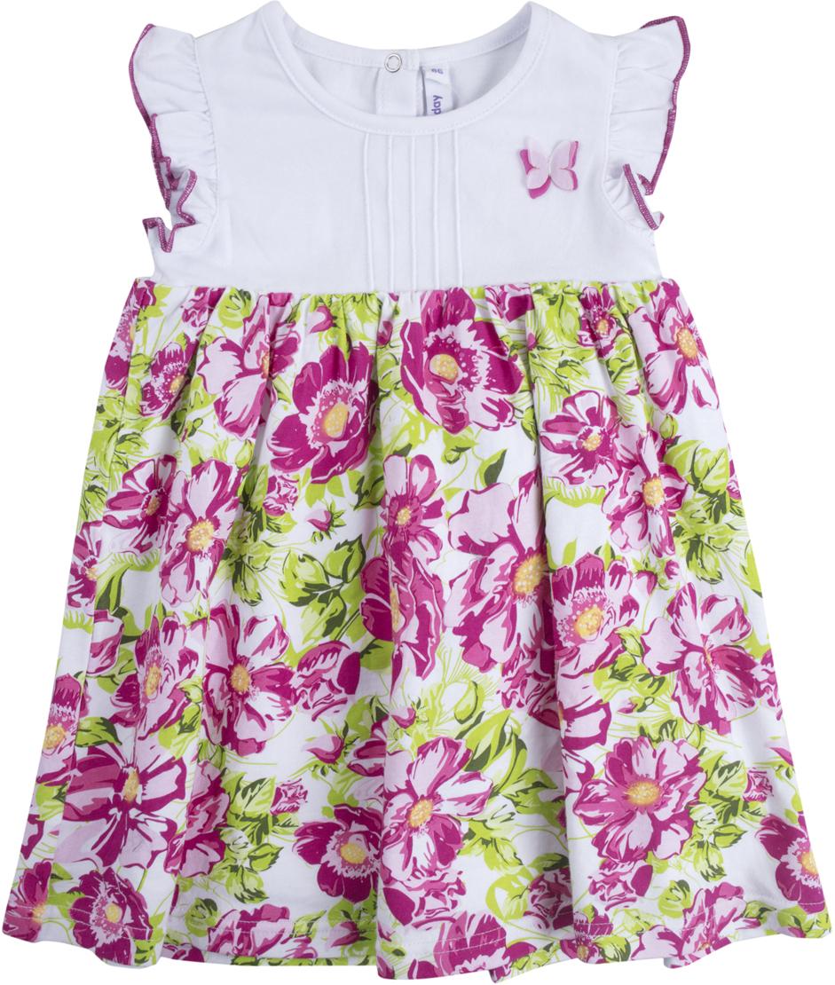 Платье для девочки PlayToday, цвет: белый, розовый, светло-зеленый. 188072. Размер 86