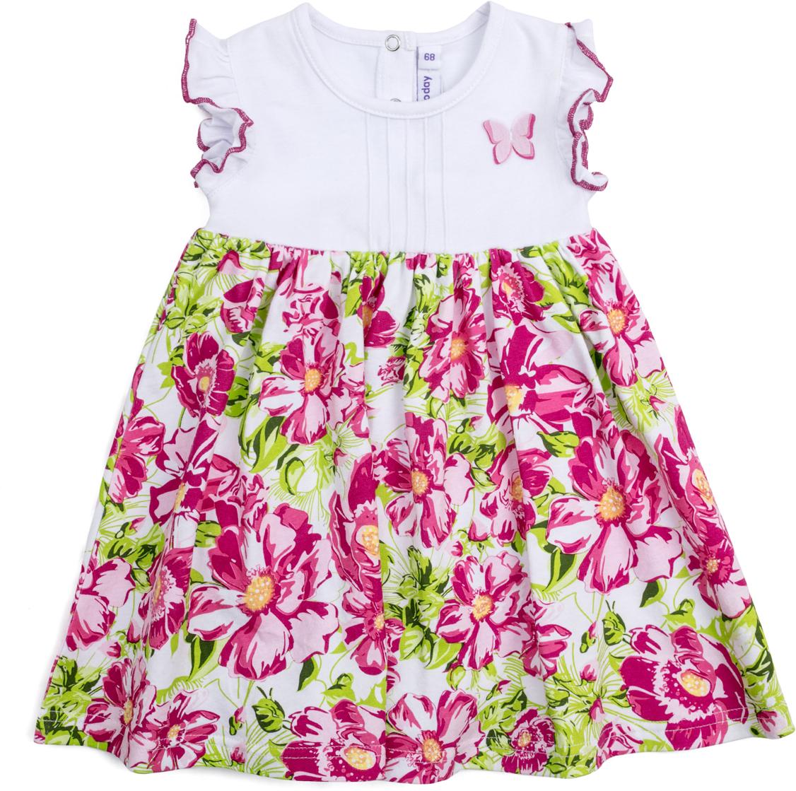 Платье для девочки PlayToday, цвет: белый, розовый, светло-зеленый. 188863. Размер 68