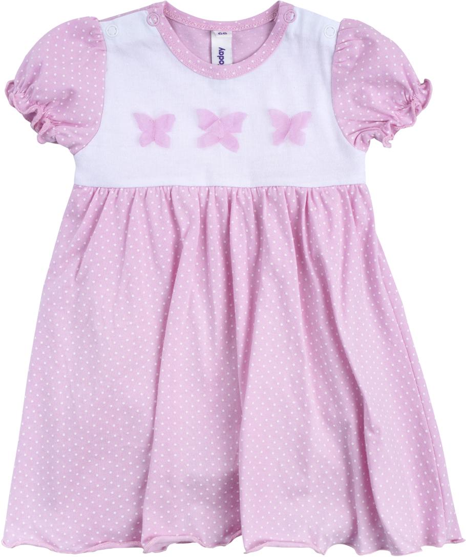 Платье для девочки PlayToday, цвет: белый, светло-розовый. 188862. Размер 74188862