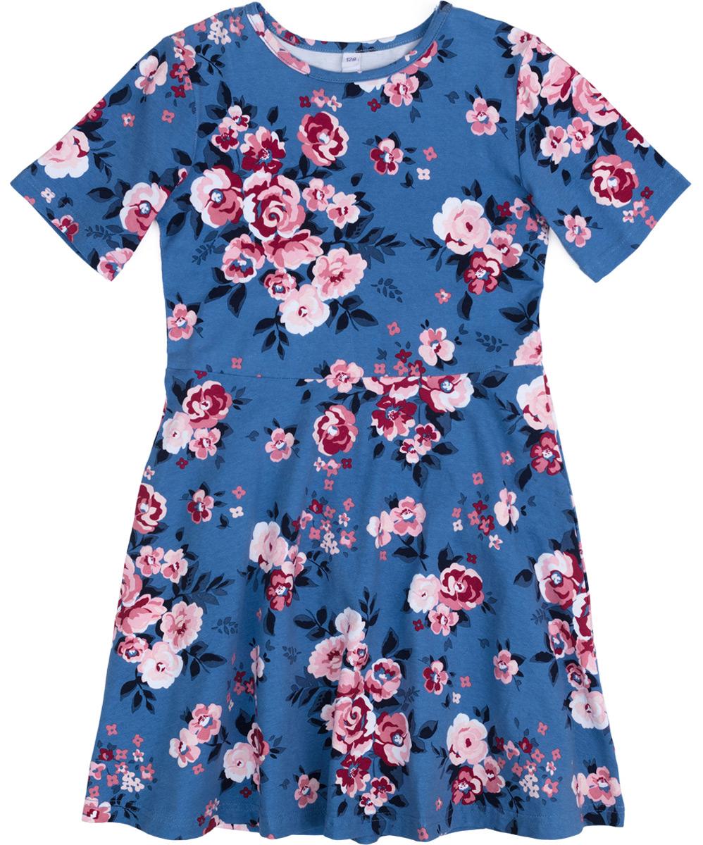 Платье для девочки PlayToday, цвет: светло-розовый, белый, голубой. 182074. Размер 110182074Платье из натуральной набивной ткани. Отрезное по талии, с округлым вырезом горловины и коротким рукавом. Модель со слегка расклешенной юбкой.