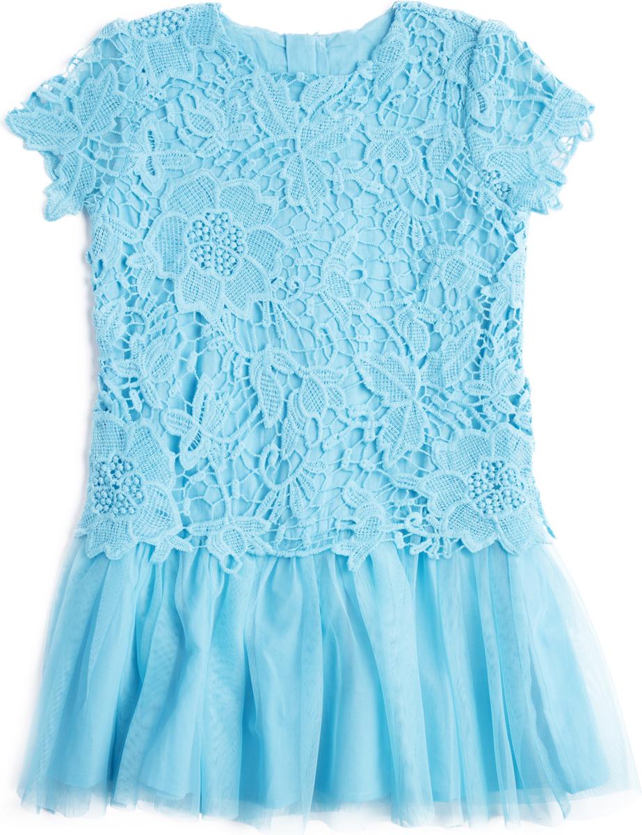 Платье для девочки PlayToday, цвет: синий. 182107. Размер 122182107Платье отрезное по талии с коротким рукавом и двуслойной юбкой. Подкладка из натурального хлопка. Верхняя часть платья из шитья. Верхний слой юбки модели выполнен из легкой сетчатой ткани. Платье на спинке застегивается на молнию.