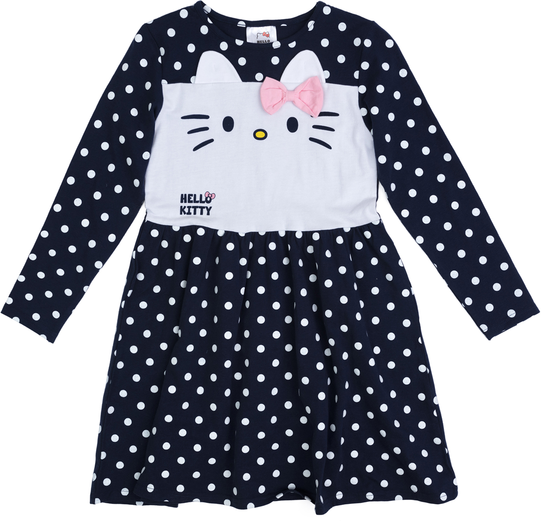 Платье для девочки PlayToday, цвет: темно-синий, белый, розовый. 682053. Размер 146/152682053Платье выполнено из натурального хлопка. Отрезное по талии, с расклешенной юбкой и длинными рукавами. Модель декорирована лицензированным принтом и аппликацией.
