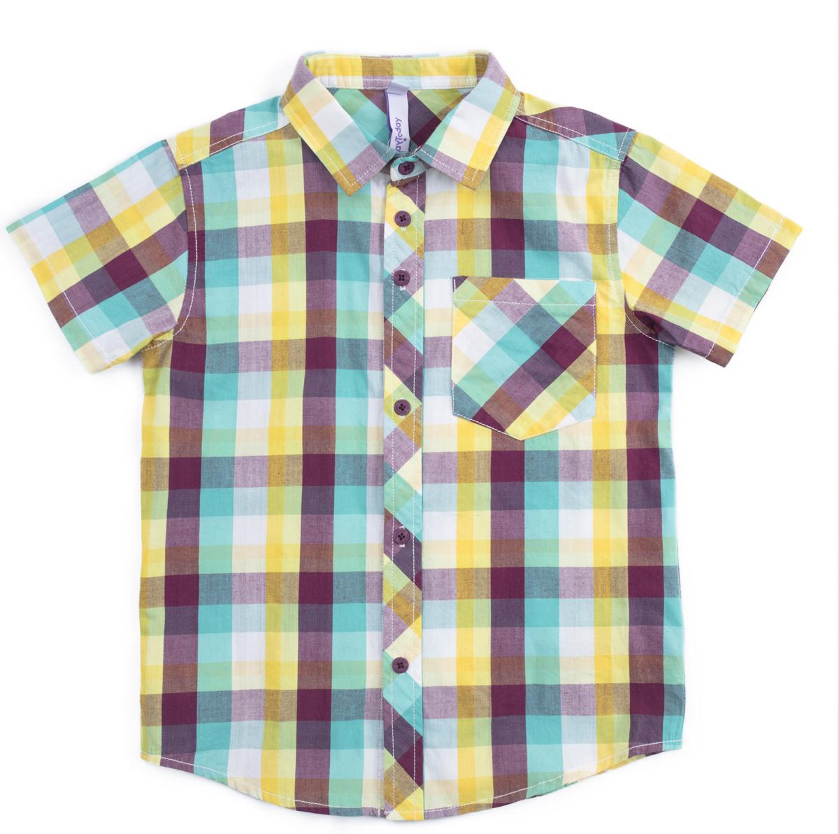 Рубашка для мальчика PlayToday, цвет: белый, желтый, голубой. 181153. Размер 116181153Сорочка с коротким рукавом классического кроя, выполнена из натурального материала. Модель дополнена накладным карманом.