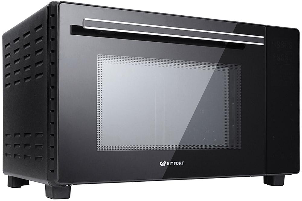 Kitfort КТ-1707, Black мини-печьKT-1707Духовка Kitfort KT-1707 с электронным управлением оснащена двумя нагревателями, конвекцией, роторным грилем и двойным остеклением дверцы. Духовка имеет высокую мощность и большой объём рабочей камеры, поэтому в ней можно быстро приготовить большую порцию пищи. В вашем распоряжении есть 9 автоматических программ приготовления для разных типов продуктов и понятная сенсорная панель управления. Дверца духовки откидная — открывается «на себя» как в обычной духовке. Имеется встроенная подсветка, так что во время готовки вы можете наблюдать за процессом через стёкла дверцы. Ручка не нагревается в процессе работы.