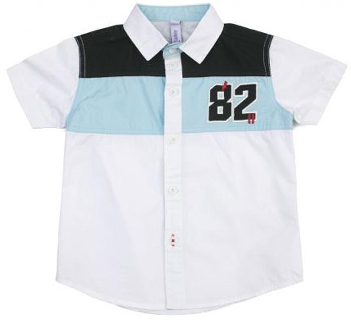 Рубашка для мальчика PlayToday, цвет: белый, синий. 181101. Размер 110181101Сорочка классического кроя из поплина на пуговицах. Модель с отложным воротником. В качестве декора использована аппликация.