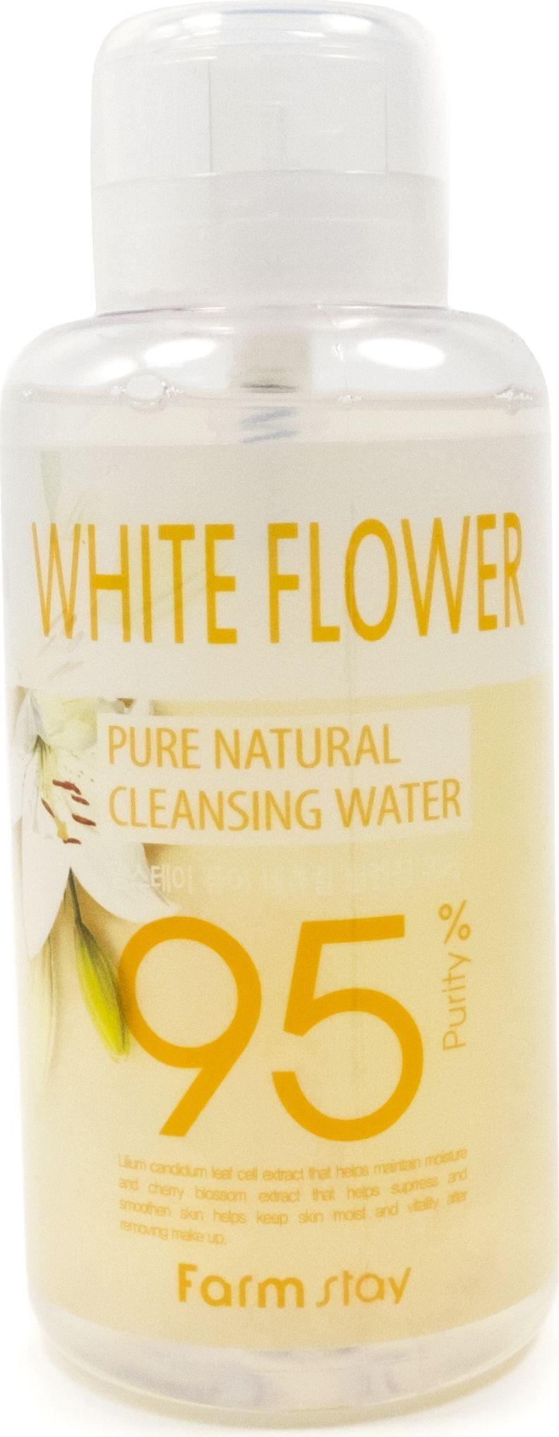 FarmStay Очищающая вода с экстрактом белых цветов, 500 мл480993Специальная очищающая вода для кожи лица. Очищает от макияжа и загрязнений, освежает кожу и подготавливает ее к нанесению средств ухода. Бережно растворяет макияж, не травмируя и не раздражая кожу. Экстракт белых цветов выравнивает общий тон кожи, предотвращает появление морщинок, успокоит чувствительную и разраженную кожу. Удобный формат флакона с помповым дозатором. Подходит для всех типов кожи. Позволяет смыть макияж без остатка даже в самых неудобных условиях, когда нет воды под рукой.