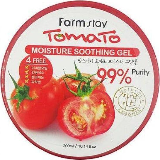 FarmStay Увлажняющий, успокаивающий многофункциональный гель с томатом, 300 мл6953400Гель для лица и тела с экстрактом томата. Томат входит в топ-10 овощей по мнению корейских нутрициологов. Богат витаминами, минералами. Эффективно работает на благо кожи, обеспечивая гладкость и эластичность. Поддерживает уровень увлажненности. Успокаивает, увлажняет, охлаждает, заживляет и восстанавливает кожу.После бритья, эпиляции. После загара и ожогов. Для лица и тела.