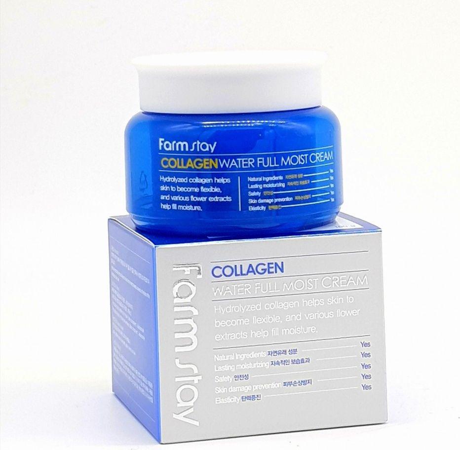 FarmStay Увлажняющий крем для лица с коллагеном, 100 мл1001338Крем для лица при помощи гидролизованного коллагена и комплекса 5 растительных экстрактов( цветов белого персика, магнолии, камелии, фрезии и сливы) позволяет глубоко и надолго увлажнить кожу и поддерживать ее в отличном состоянии. Предотвращает обезвоживание и появление первых морщинок. Ниацинамид позволяет разгладить первые морщинки, повысить выработку коллагена и эластина. Аденозин предотвращает появление нежелательной пигментации.