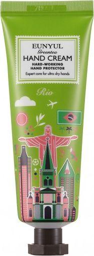 Eunyul Крем для рук с экстрактом зеленого чая Рио, 50 г403644Нежный питательный крем для рук из серии «Города мира» Рио. Содержит экстракт зеленого чая. Увлажняет, снимает раздражения, стимулирует обновление кожи, повышает упругость и эластичность. Зеленый чай является непревзойденным лидером среди растительных антиоксидантов. Его уникальные свойства обусловлены высокой концентрацией полифенолов. Они оказывают также противовоспалительное и антибактериальное действие, способствуют проникновению биологически активных веществ в кожу. Кофеин, который содержится в экстракте, улучшает микроциркуляцию крови и питание кожи/ Экстракты потулака, розы, гуавы, камелии и ромашки смягчают и увлажняют кожу рук.
