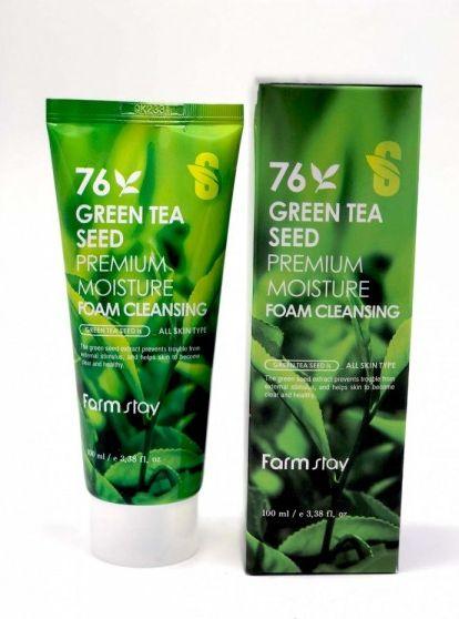 FarmStay Пенка очищающая с семенами зеленого чая, 100 мл9775137Очищающая увлажняющая пенка с семенами зеленого чая удаляет ежедневные загрязнения, остатки макияжа. Кожа остается мягкой, увлажненной и подготовлена к нанесению ухода. В составе семена зеленого чая, корня лакричника и портулака. Эти компоненты являются отличными антиоксидантами, борются с загрязнениями, помогают коже остаться мягкой и увлажненной.