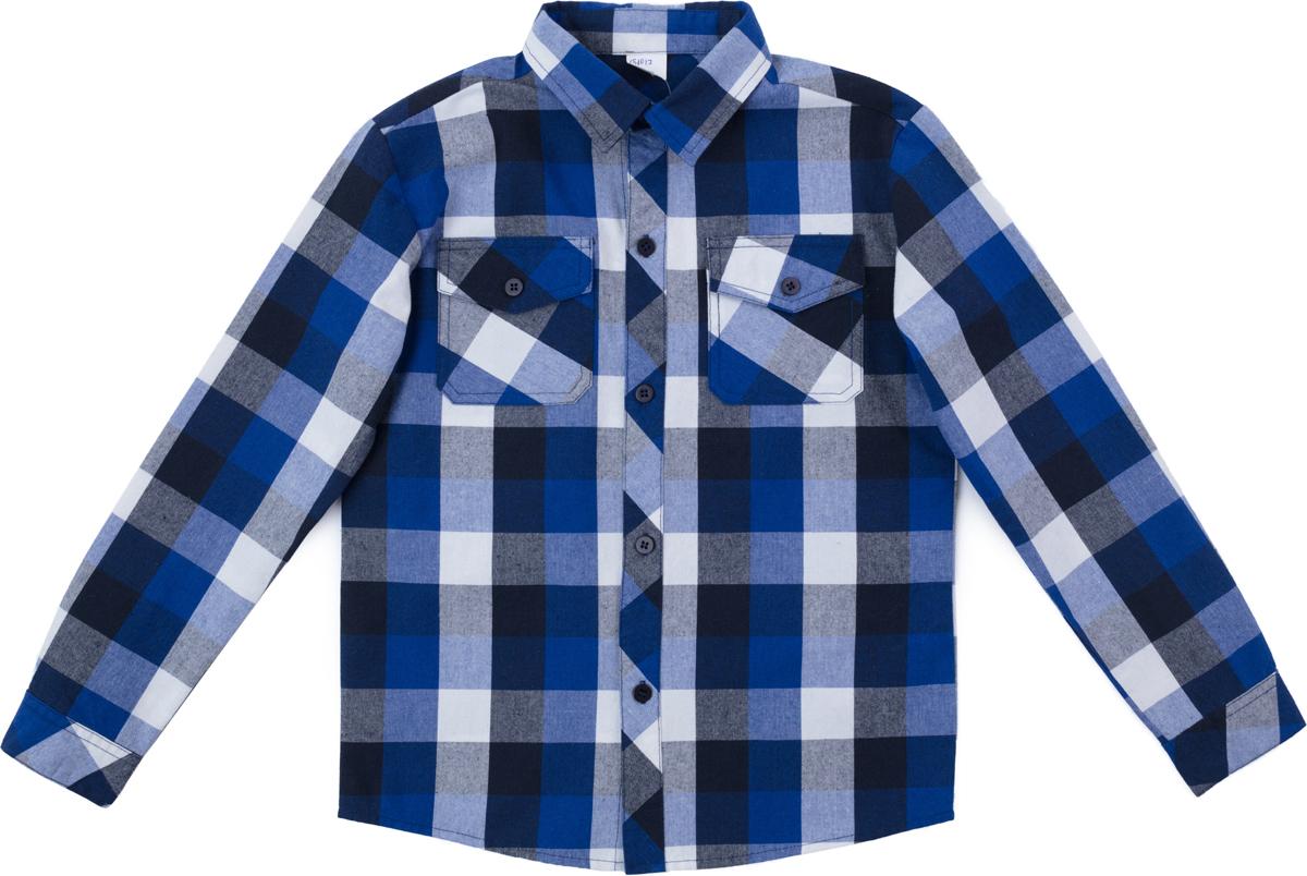 Рубашка для мальчика PlayToday, цвет: синий, белый. 181012. Размер 116181012Сорочка выполнена из натурального хлопка. Рукава оформлены манжетами. Сорочка с двумя накладными карманами.