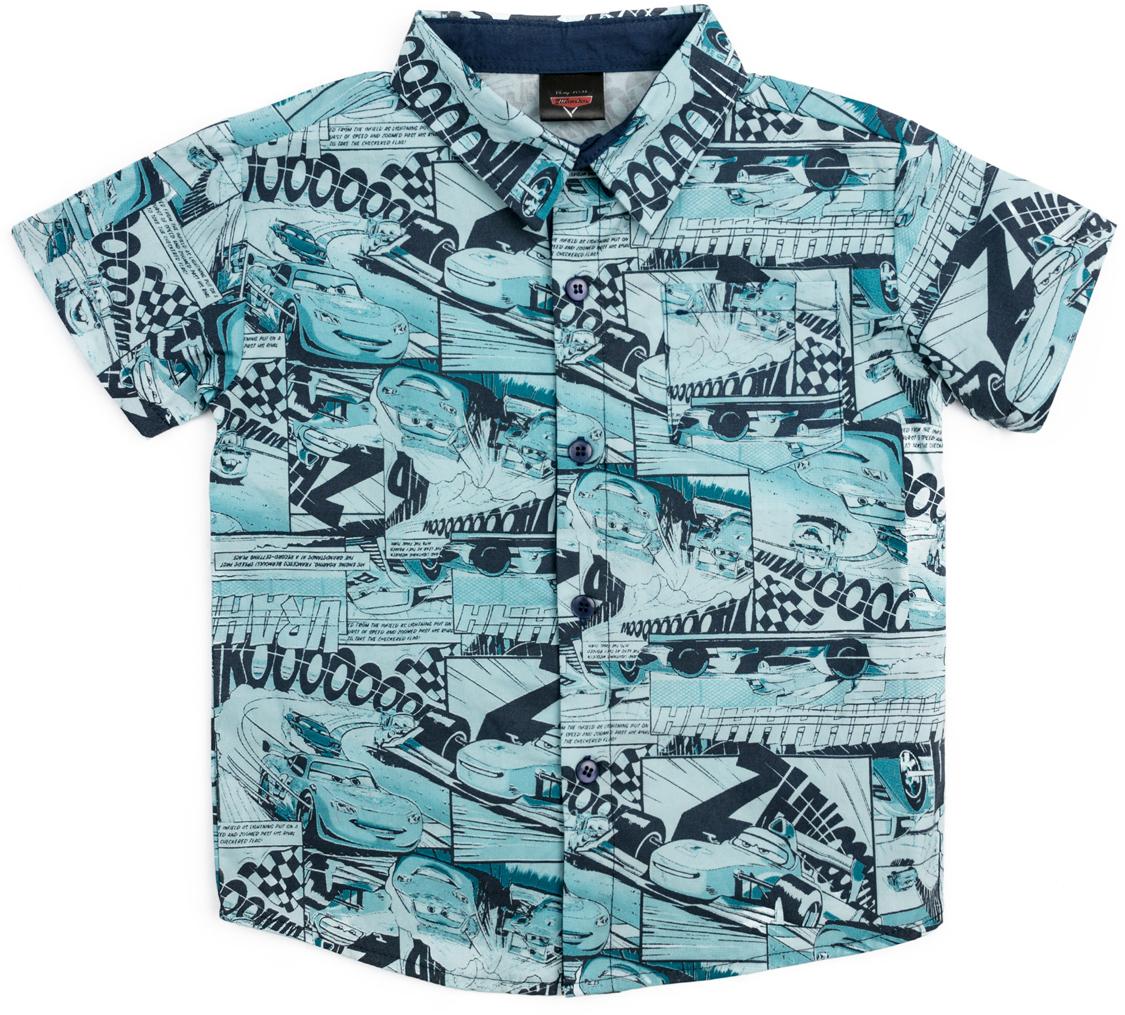 Рубашка для мальчика PlayToday, цвет: синий. 681101. Размер 116681101Классическая сорочка с коротким рукавом выполнена из натурального хлопка. Модель с отложным воротником.
