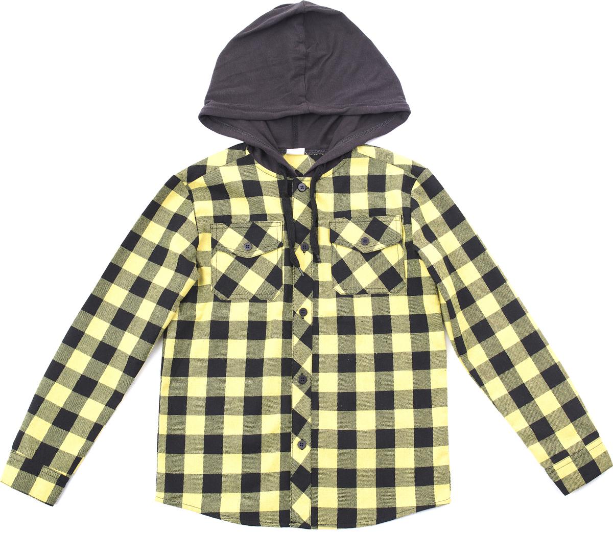 Рубашка для мальчика PlayToday, цвет: черный, желтый. 181061. Размер 110181061Сорочка выполнена из натурального хлопка. Модель дополнена встрочным капюшоном на регулируемом шнуре - кулиске. Рукава оофрмлены манжетами. Сорочка с двумя накладными карманами.