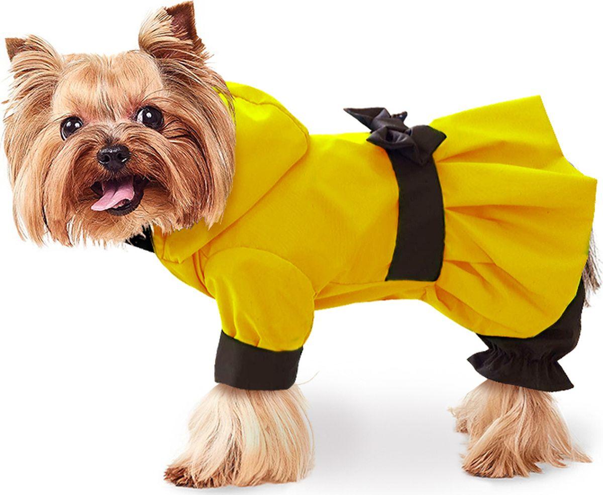 Дождевик для собак ZooTrend Кокетка, для девочки, цвет: желтый. Размер LZT-721101-lДождевик для собаки из водоотталкивающего и дышащего материала (100% полиэстер). Защищает собаку от неблагоприятных погодных условий. Прекрасная посадка, не сковывает движений. Машинная стирка при 30 градусах.