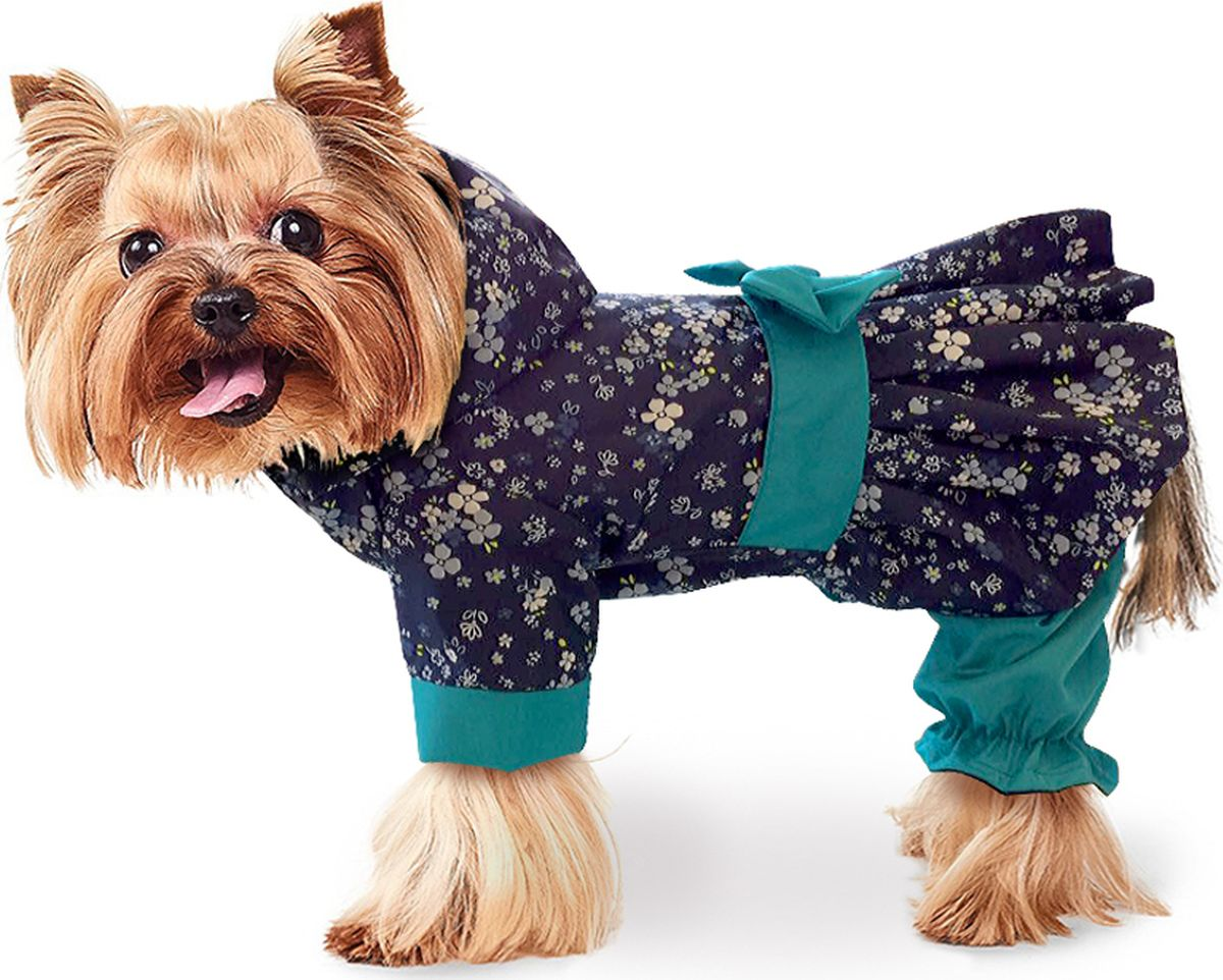Дождевик для собак ZooTrend  Кокетка. Цветы , для девочки, цвет: бирюзовый. Размер M - Одежда, обувь, украшения