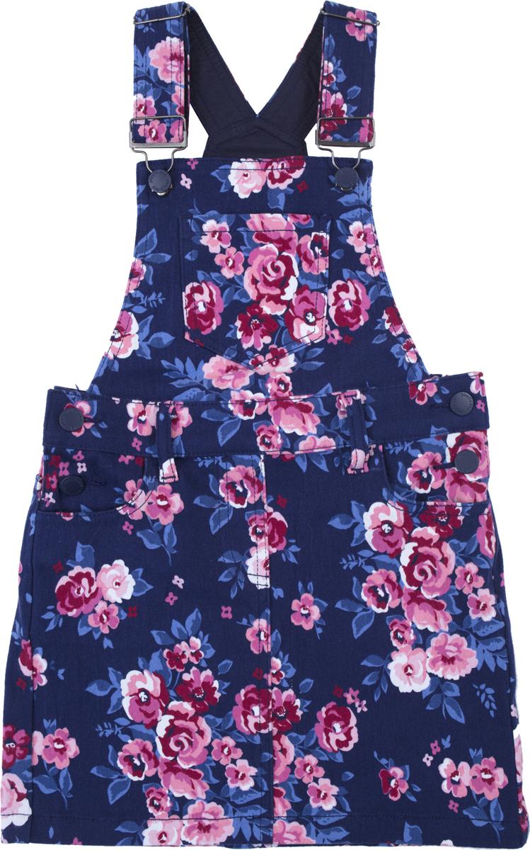 Сарафан для девочки PlayToday, цвет: темно-синий, розовый, белый. 182063. Размер 116182063Сарафан из натуральной набивной ткани, на широких регулируемых бретелях. Пояс со шлевками, при необходимости можно использовать ремень. Модель дополнена карманами. На полочке расположен карман.