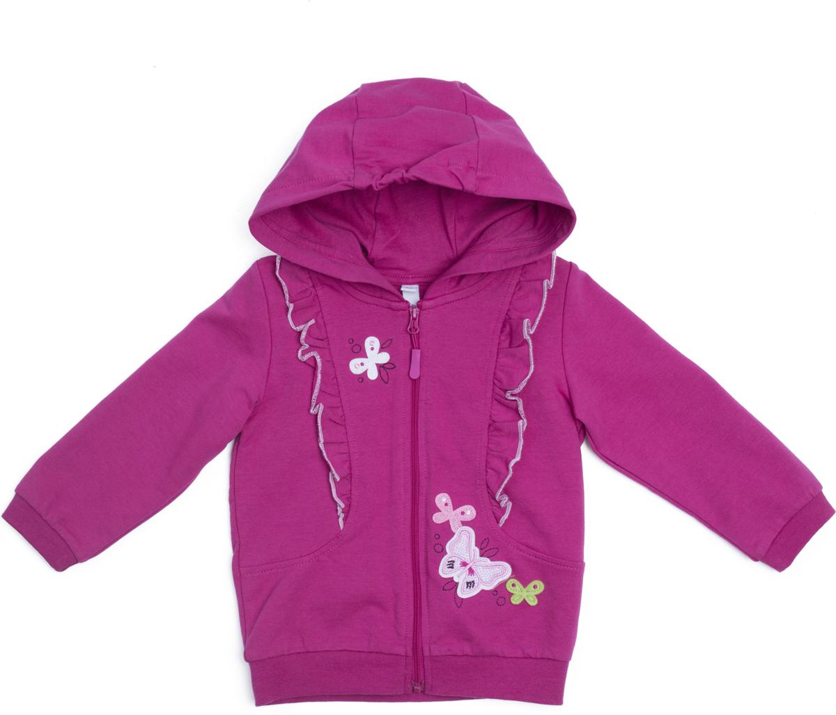 Толстовка для девочки PlayToday Солнечная палитра, цвет: розовый. 188051. Размер 80 купальник слитный для девочки playtoday baby солнечная палитра цвет розовый 188077 размер 98