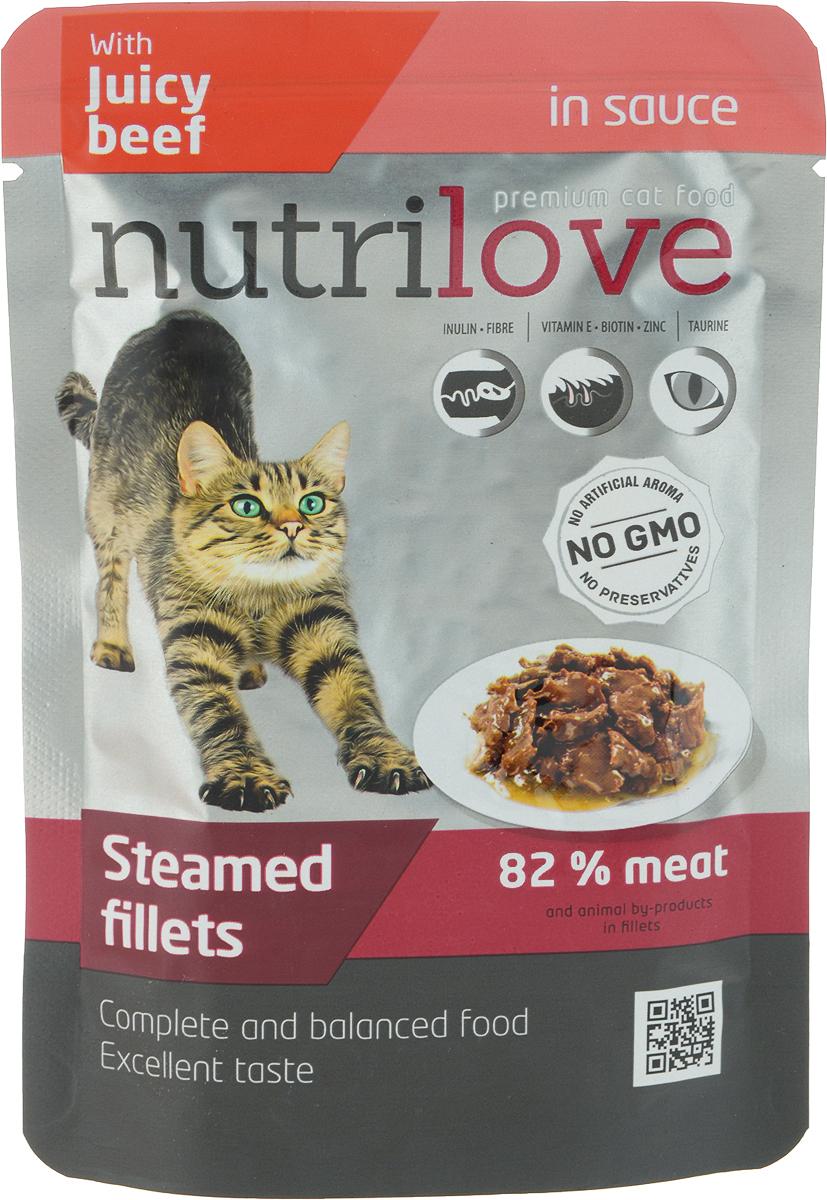 Корм консервированный Nutrilove, для кошек, с говядиной в соусе, 85 г15449Консервированный корм Nutrilove - полноценное питание для взрослых кошек.Продукты Nutrilove являются инновационными в своем сегменте.Корма изготовлены по самым передовыми технологиями, в том числе, сиспользованием свежего мяса в качестве одного из основныхингредиентов. Они характеризуются высоким содержанием белка животногопроисхождения с идеально сбалансированным содержанием жиров,минеральных веществ и витаминов. Товар сертифицирован.
