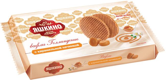 Яшкино вафли голландские с карамельной начинкой, 290 г коломпенское вафли шоколадный вкус 220 г