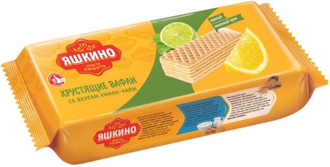 Яшкино вафли со вкуом лимон-лайм, 300 г коломпенское вафли шоколадный вкус 220 г