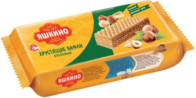 Яшкино вафли со вкусом ореха, 300 гЯВ164Семислойные вафли с начинкой из натурального какао и обжаренного фундука.