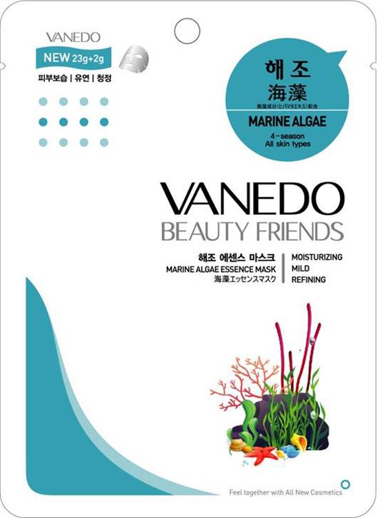 Vanedo Marine Algae Essence Mask Sheet Pack Маска для лица с морскими водорослями, 25 г175566Маска сделана на основе водного раствора и концентрированных растительных экстрактов, благодаря которым кожа усваивает питательные вещества. Маска включает в себя различные виды минералов и витаминов, которые помогают омолодить кожу. Также морские водоросли в составе маски обеспечивают питание и уход за всеми типами кожи, оказывают противовоспалительный эффект на кожу.