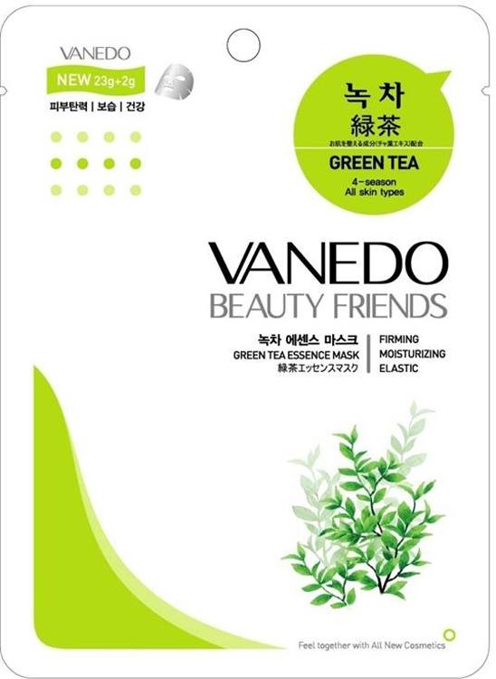 Vanedo Green Tea Essence Mask Sheet Pack Маска для лица с зеленым чаем, 25 г175573Маска сделана на основе водного раствора и концентрированных растительных экстрактов, благодаря которым кожа усваивает питательные вещества. Зеленый чай в составе маски богат антиоксидантами, что предотвращает старение кожи, устраняет покраснения кожи и чрезмерную жирность, а также смягчает и разглаживает кожу.