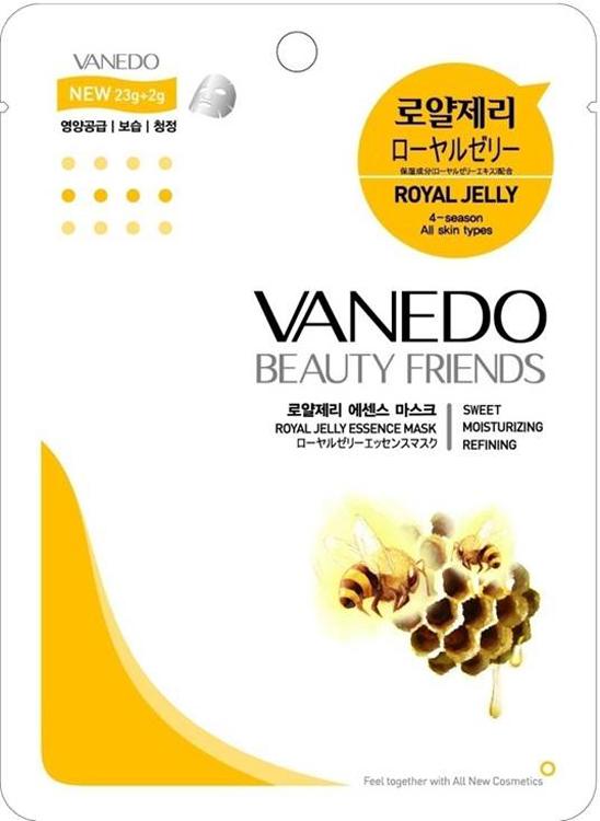 Vanedo Royal Jelly Essence Mask Sheet Pack Маска для лица с маточным молочком, 25 г175597Маска сделана на основе водного раствора и концентрированных растительных экстрактов, благодаря которым кожа усваивает питательные вещества. Маточное молочко имеет хорошо сбалансированный состав – липиды, протеины, витамины. Оказывает заживляющие действие, защищает от фотостарения и увеличивает синтез коллагена.