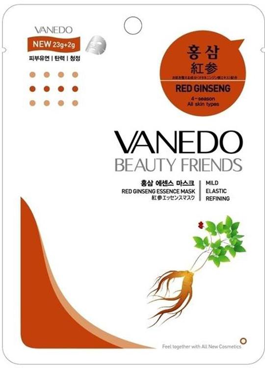 Vanedo Red Ginseng Essence Mask Sheet Pack Маска для лица с красным женьшенем, 25 г175672Маска сделана на основе водного раствора и концентрированных растительных экстрактов, благодаря которым кожа усваивает питательные вещества. Маска содержит экстракт корня красного женьшеня, за счет которого кожа насыщается полезными макроэлементами и минеральными веществами, как следствие улучшается обмен веществ клеток кожи. Также женьшень снимает раздражение и уменьшает воспалительные процессы, уменьшает отечность.