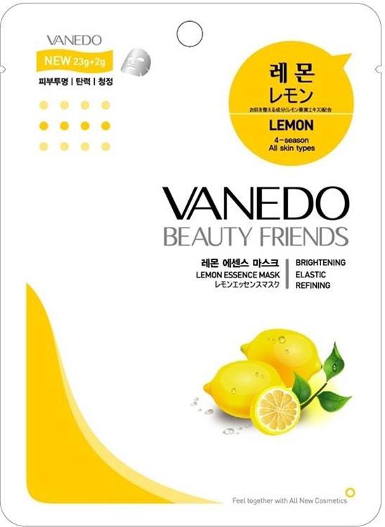 Vanedo Lemon Essence Mask Sheet Pack Маска для лица с лимоном, 25 г175702Маска сделана на основе водного раствора и концентрированных растительных экстрактов, благодаря которым кожа усваивает питательные вещества. Экстракт лимона – обладает отбеливающим свойством. Также он укрепляет стенки сосудов и сужает поры, способствует устранению пигментных пятен, веснушек, сосудистых звездочек и различных высыпаний, восстанавливает цвет лица.
