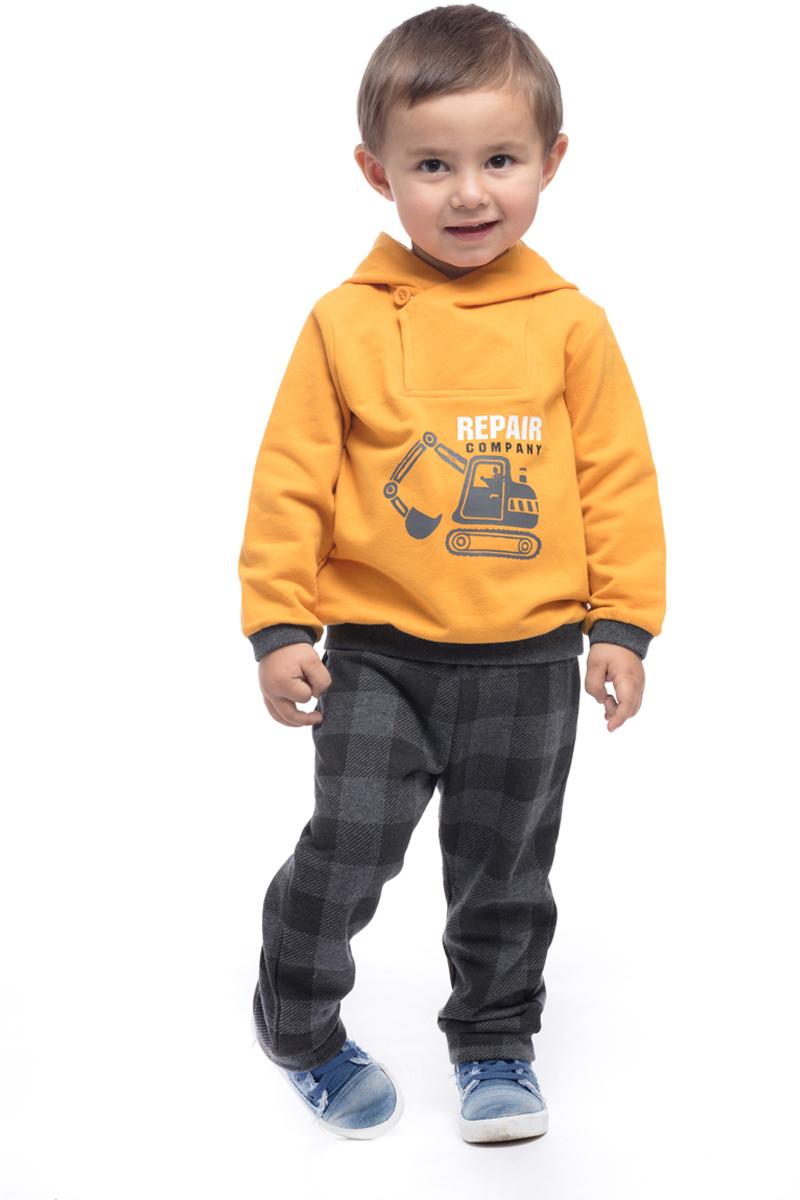Толстовка для мальчика PlayToday, цвет: желтый, серый. 187017. Размер 74187017