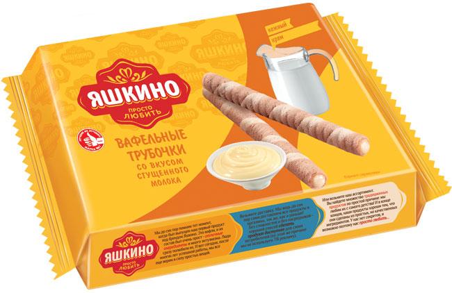 Яшкино трубочки вафельные со вкусом сгущенного молока, 190 г selga печенье со вкусом сгущенного молока 180 г