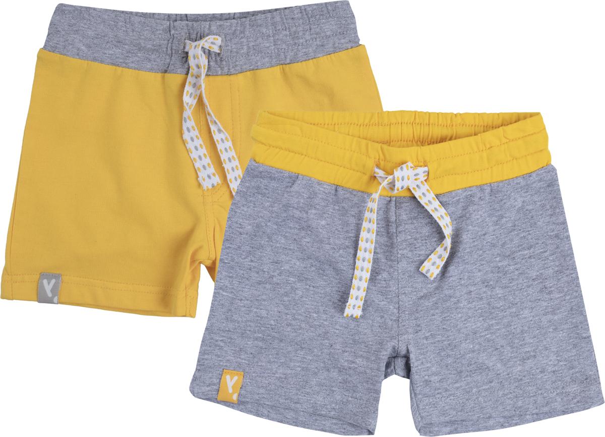 Шорты для мальчика PlayToday, цвет: желтый, светло-серый, 2 шт. 187860. Размер 62 лонгслив playtoday для мальчика цвет желтый