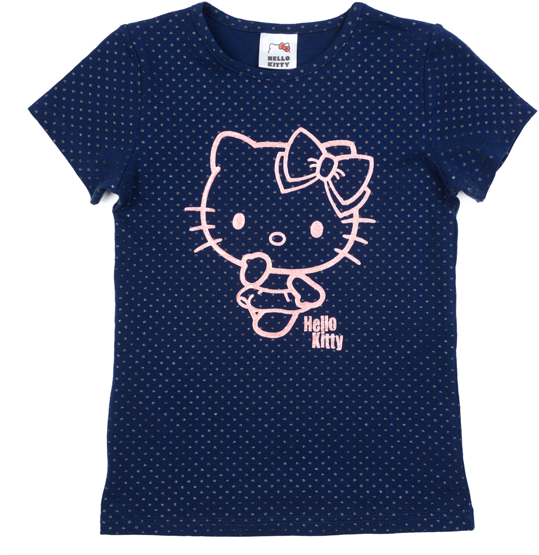 Футболка для девочки PlayToday, цвет: темно-синий, розовый, черный. 682054. Размер 116682054Футболка выполнена из натурального хлопка. Дополнена лицензированным глиттерным принтом. Свободный крой не сковывает движений ребенка.