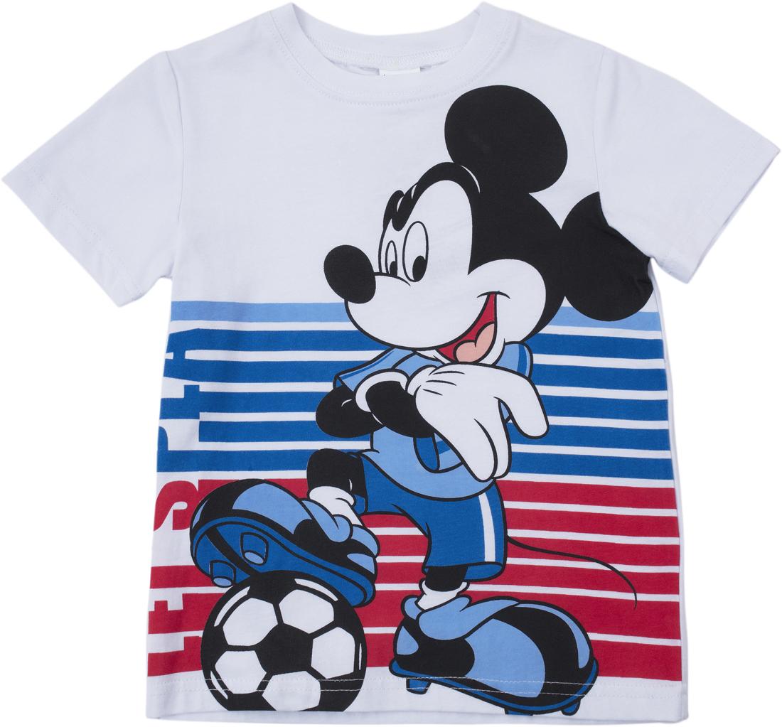 Футболка для мальчика PlayToday, цвет: синий, белый, красный. 681002. Размер 104681002Футболка с коротким рукавом. Аккуратные швы не вызывают раздражений. Горловина модели на мягкой трикотажной резинке. Футболка дополнена ярким принтом.