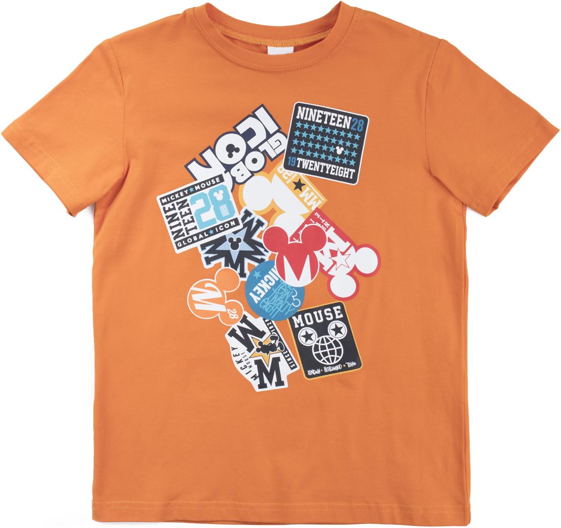 Футболка для мальчика PlayToday Sport, цвет: оранжевый. 680001. Размер 128680001Футболка из натурального хлопка. Горловина оформлена мягкой трикотажной резинкой. Модель декорирована крупным лицензированным принтом.