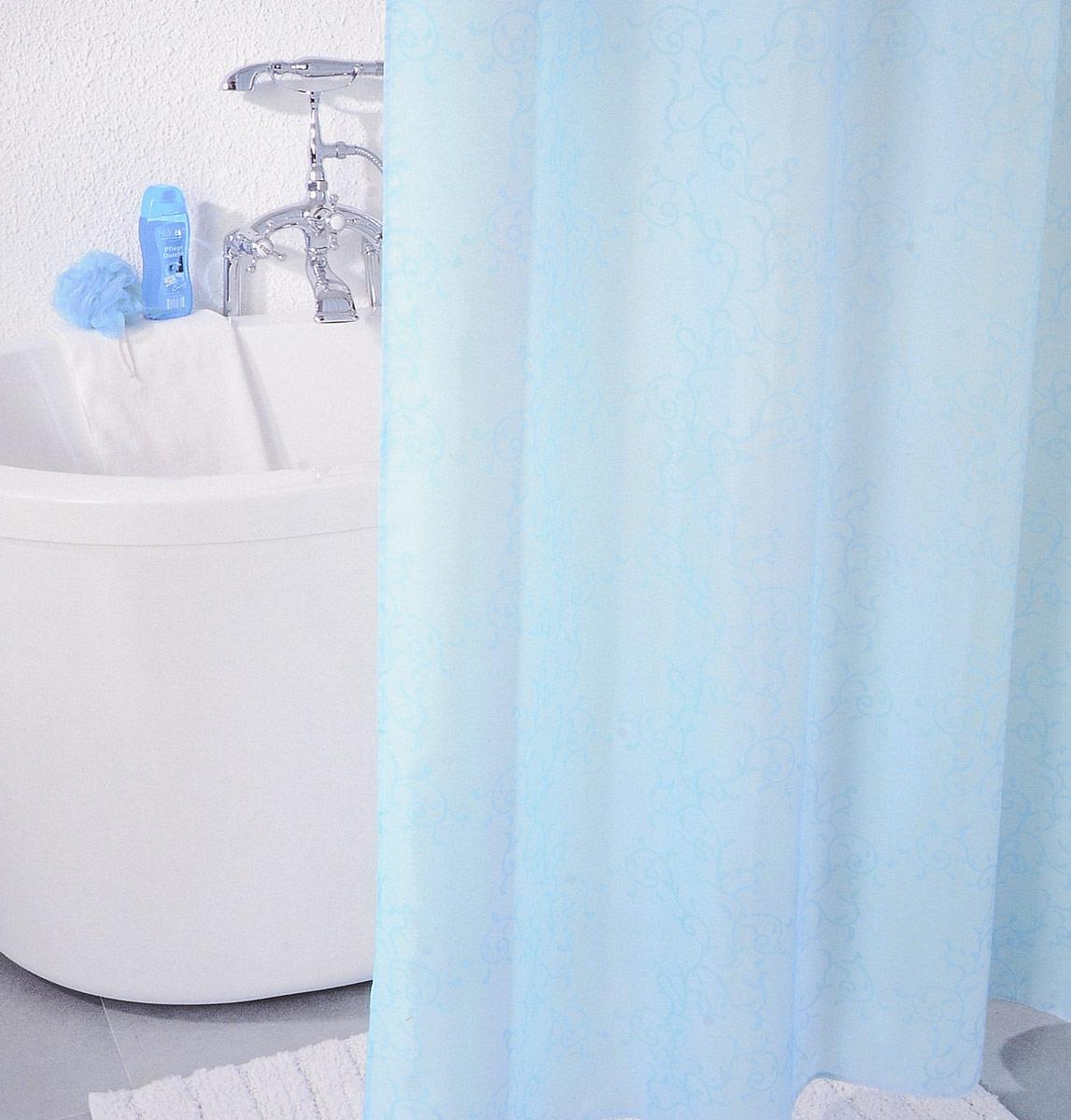 Штора для ванной комнаты Milardo, изготовлена из полиэстера с водоотталкивающей пропиткой, декорирована витиеватым рисунком. Штора быстро сохнет, легко моется (разрешена деликатная стирка в стиральной машине при температуре 30°С без отжима) и обладает повышенной износостойкостью, благодаря двойной обработке краев и устойчивым красителям. Вверху предусмотрены пластиковые люверсы. В комплекте также имеется 12 пластиковых колец.   Штора для ванной Milardo порадует вас своим ярким дизайном и добавит уюта в ванную комнату.
