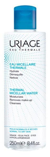 Uriage Мицеллярная вода очищающая для нормальной и сухой кожи, 250 млU03608Гипоаллергенная мицеллярная вода с приятным ароматом идеально очистит ?глаза и лицо от декоративной косметики и загрязнений, моментально устранит чувство стянутости и раздражения, подарит долгое ощущение комфорта. После ее применения ваша кожа будет эластичной и бархатистой, разгладятся мелкие поверхностные морщинки.