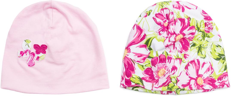 Чепчик для девочки PlayToday, цвет: белый, розовый, зеленый, 2 шт. 188870. Размер 42188870