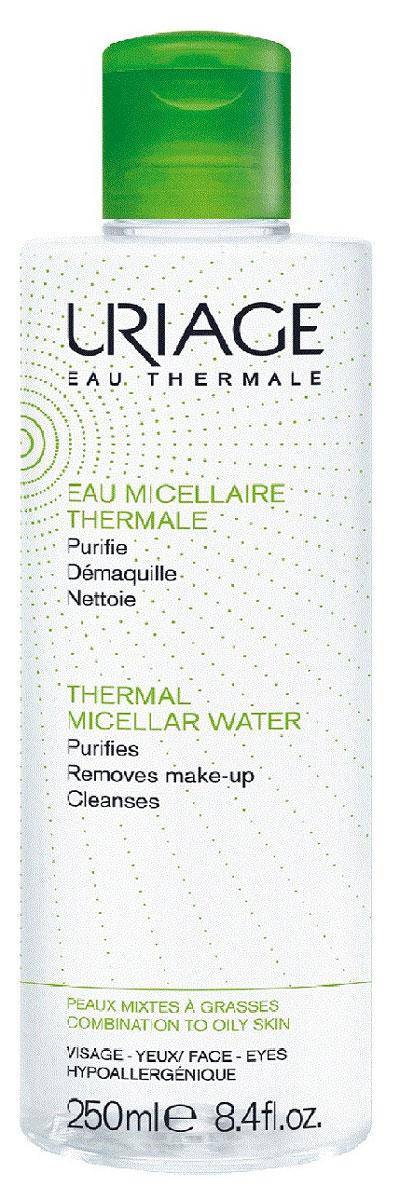 Uriage Мицеллярная вода очищающая для комбинированной и жирной кожи, 250 млU03660Гипоаллергенная мицеллярная вода с приятным ароматом идеально очищает лицо и кожу вокруг глаз от декоративной косметики, загрязнений и кожного жира, дарит долгое ощущение комфорта. Экстракт зелёного яблока, насыщенный полифенолами, микроэлементами и витамином Е, восстанавливает сияние и регулирует выделение себума. Комплекс Pore Refiner (экстракт чечевицы) уменьшает размер пор и улучшает рельеф кожи. Термальная Вода Урьяж увлажняет, укрепляет кожный барьер, способствует восстановлению и сохранению целостности гидролипидной плёнки. После ее применения кожа будет мягкой и матовой, поры уменьшатся и снизится активность сальных желез, разгладятся мелкие поверхностные морщинки.