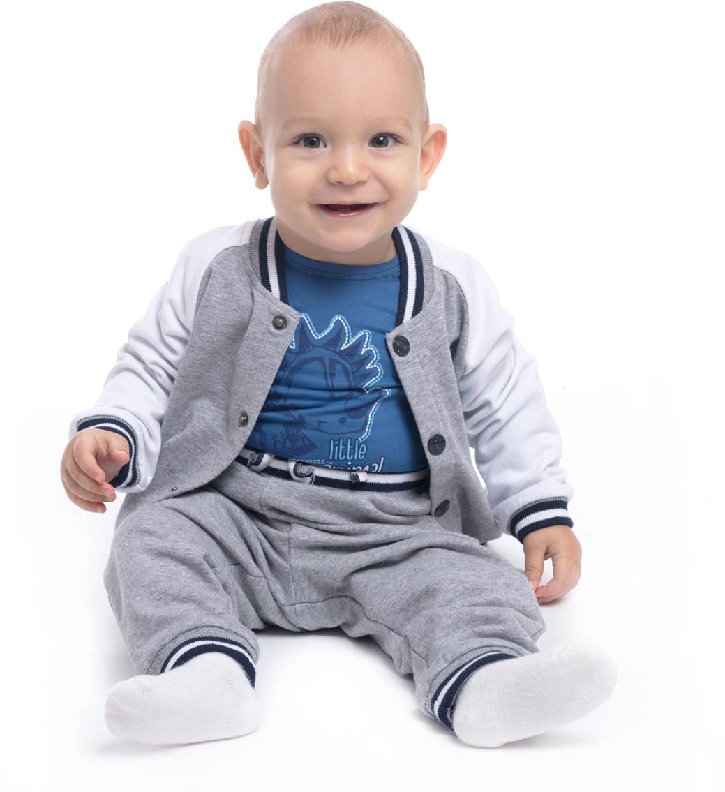 Фото Толстовка для мальчика PlayToday, цвет: светло-серый, белый. 187808. Размер 80