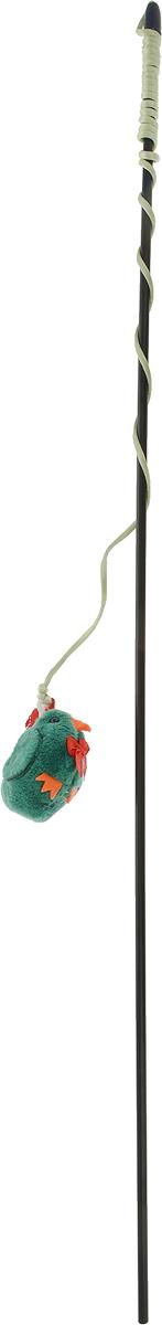 Игрушка-дразнилка для кошек GLG Курица, цвет: зеленый игрушка дразнилка с насекомым для кошек karlie flamingo