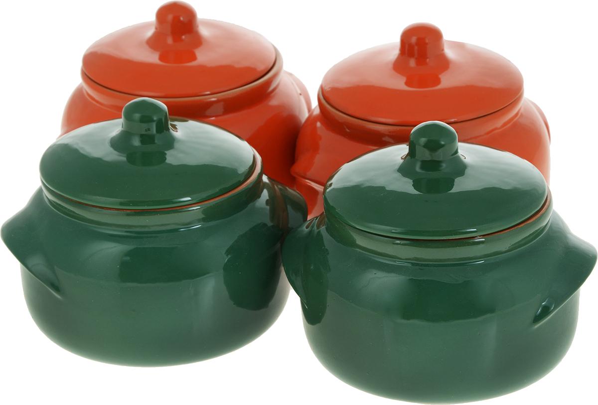 Набор горшочков для запекания Борисовская керамика Новарусса, цвет: оранжевый, зеленый, 500 мл, 4 шт