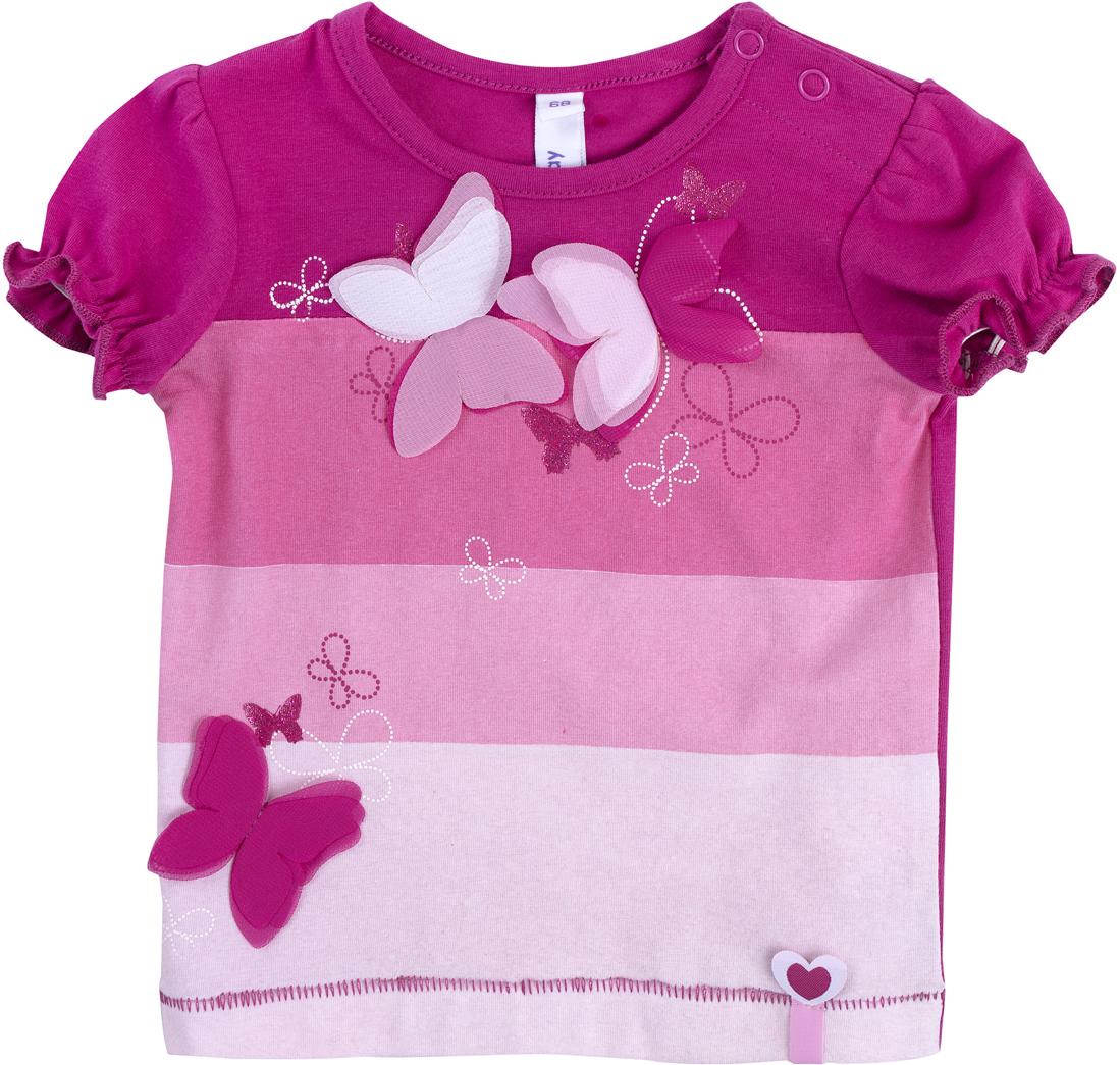 Футболка для девочки PlayToday, цвет: розовый. 188853. Размер 74 футболка для девочки playtoday цвет розовый 278006 размер 74
