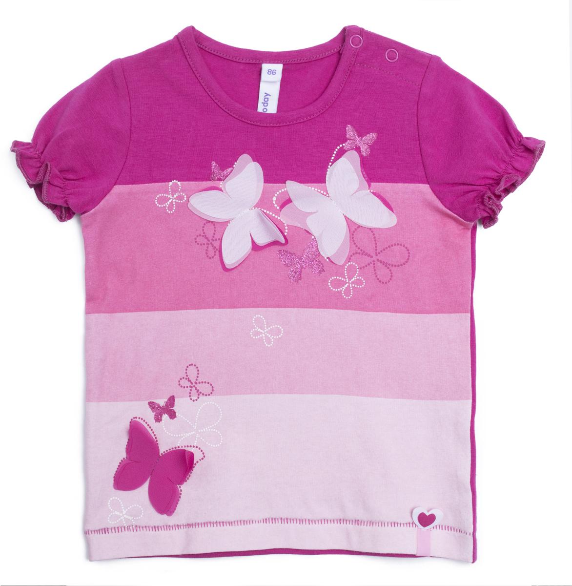 Футболка для девочки PlayToday, цвет: розовый. 188057. Размер 80188057