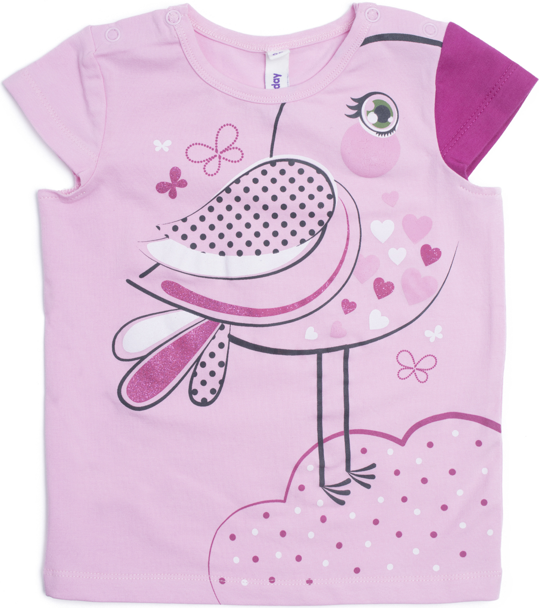 Футболка для девочки PlayToday, цвет: светло-розовый. 188056. Размер 92188056